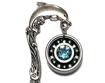 Dolphin Bookmark w/ Your Choice Roller Derby Skate Bearing Pendant