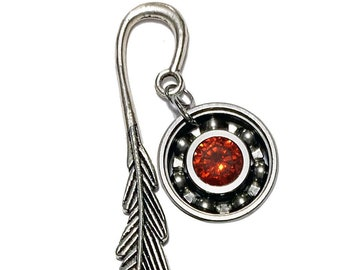Feather Bookmark w/ Your Choice Roller Derby Skate Bearing Pendant