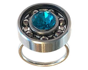 Mini Roller Derby Skate Bearing Ring with YOUR CHOICE of Crystal!