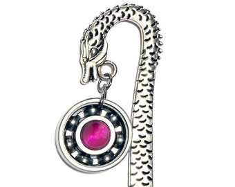 Dragon Bookmark w/ Your Choice Roller Derby Skate Bearing Pendant