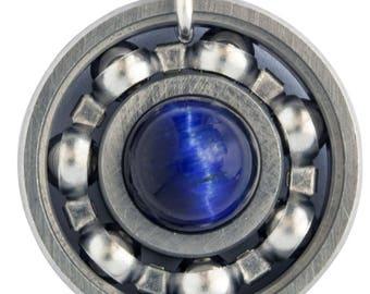 Blue Tiger's Eye Roller Derby Skate Bearing Pendant Necklace