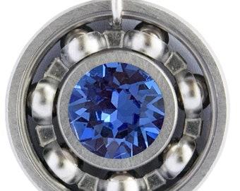 Sapphire Blue Crystal Roller Derby Skate Bearing Pendant Necklace - September Birthstone