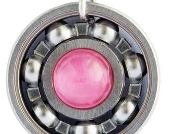 Pink Jade Roller Derby Skate Bearing Pendant Necklace