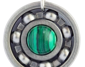Malachite Roller Derby Skate Bearing Pendant Necklace