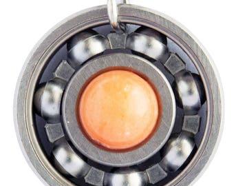 Orange Sherbet Jade Roller Derby Skate Bearing Pendant Necklace