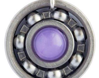 Lavender Jade Roller Derby Skate Bearing Pendant Necklace