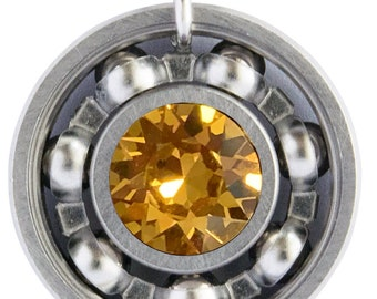 Topaz Crystal Roller Derby Skate Bearing Pendant Necklace - November Birthstone