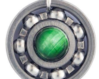 Green Tiger's Eye Roller Derby Skate Bearing Pendant Necklace