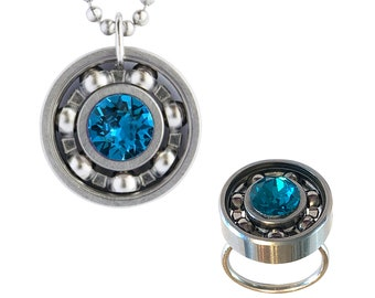 Roller Derby Skate Bearing Ring and Pendant Gift Set with YOUR CHOICE of Crystal!