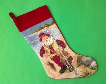 12x17 DIY Santa Claus Fishing Christmas Stocking Kit Counted Cross Stitch Embroidery Candamar