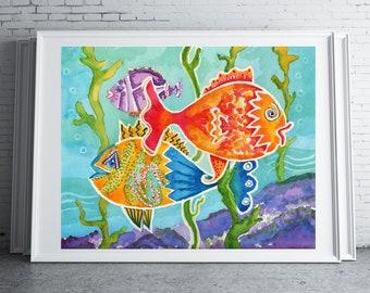Colorful Fish Watercolor Painting   Digital Download Printable Art   Fun Fish by Kathy