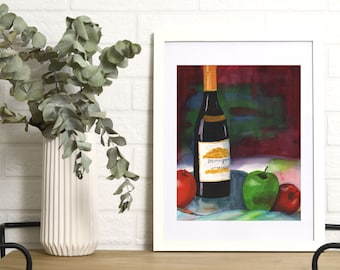 Wine Watercolor Painting   Digital Download Printable Art   Wine and Apples by Kathy