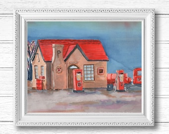 Vintage Route 66 Gas Station Watercolor Painting   Digital Download Printable Art   Route 66 Gas Station by Kathy