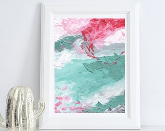 Pink and Teal Abstract Acrylic Painting   Digital Download Printable Art   Pink and Teal Mood by Shannon Torrens