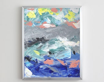 Blue and Gray Abstract Acrylic Painting   Digital Download Printable Art   Blue and Gray Mood by Shannon Torrens