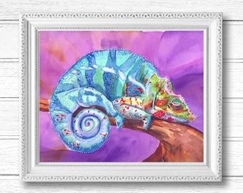 Colorful Chameleon Lizard Watercolor Painting   Digital Download Printable Art   The Sleepy Lizard by Kathy