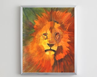 Lion Watercolor Painting   Digital Download Printable Art   The Lion by Kathy