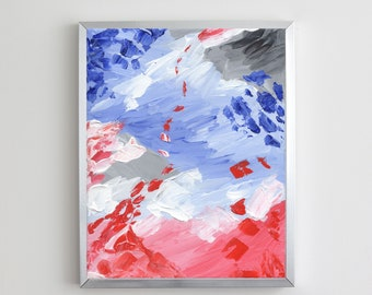 Red and Blue Abstract Acrylic Painting   Digital Download Printable Art   Red and Blue Mood by Shannon Torrens