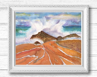 Beach Waves Watercolor Painting   Digital Download Printable Art   Make a Big Splash by Kathy