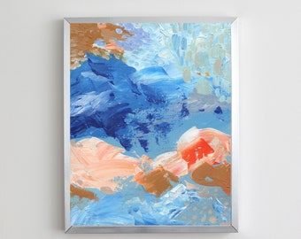 Orange and Blue Too Abstract Acrylic Painting   Digital Download Printable Art   Orange and Blue Mood Too by Shannon Torrens