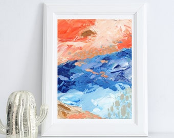 Orange and Blue Abstract Acrylic Painting   Digital Download Printable Art   Orange and Blue Mood by Shannon Torrens