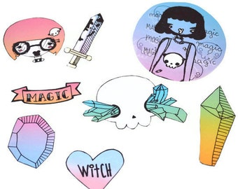 Teen Witch Sticker Set  (free shipping)