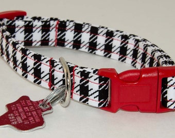 Houndstooth Black and White Print Dog Collar - Adjustable
