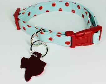 Glitter Red Dots Dog Collar - Adjustable