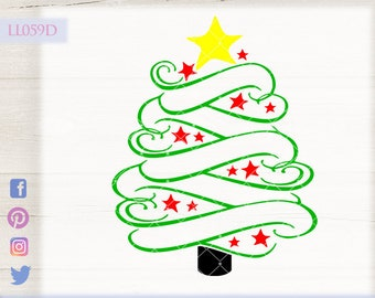 Swirly Christmas Tree With Star Ll059 D Svg Dxf Fcm Ai Eps Png Jpg Digital File For Commercial And Personal Use