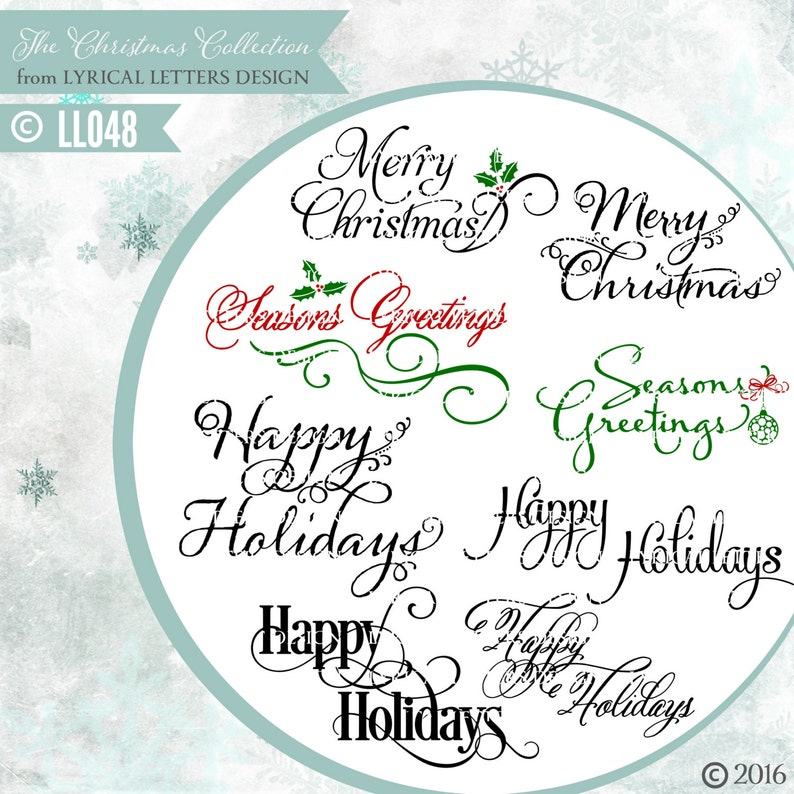 999d10ad5f3a9 Christmas Greetings Merry Christmas Seasons Greetings LL048 - Vector Art -  Cutting File - Includes ai, eps, svg, eps, dxf (for Silhouette us