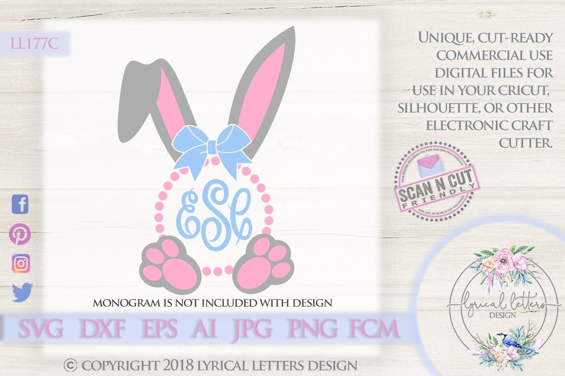 Easter Monogram Frame Bunny Ears Rabbit Feet LL177 C - SVG DXF Fcm Ai Eps  Png Jpg Digital file for Commercial and Personal Use