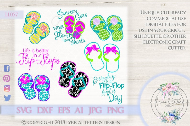 Patterned Flip Flops Flip Flop Designs Hibiscus flip-flop LL057 SVG DXF Ai Eps Png Jpg Digital file for Commercial and Personal Us