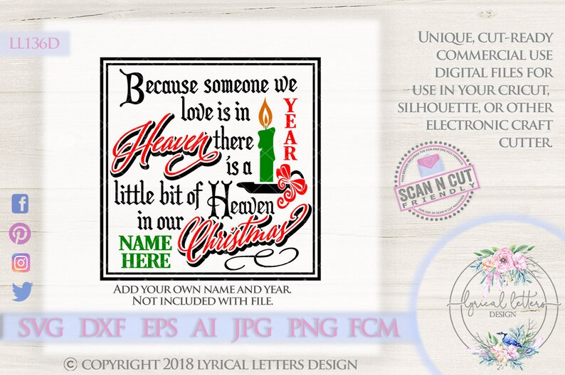 Because Someone We Love Heaven In Our Christmas Ll136 D Svg Etsy
