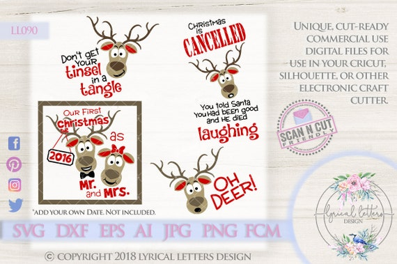 Reindeer Christmas Collection Ll090 Svg Dxf Fcm Ai Eps Png Etsy