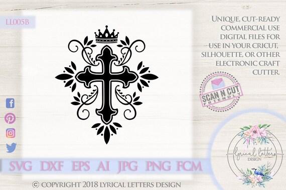 Cross And Crown Ll005 B Svg Dxf Fcm Ai Eps Png Jpg Digital Etsy