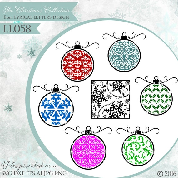 Christmas Ornaments Patterned Snowflake Ll058 Svg Vector Etsy