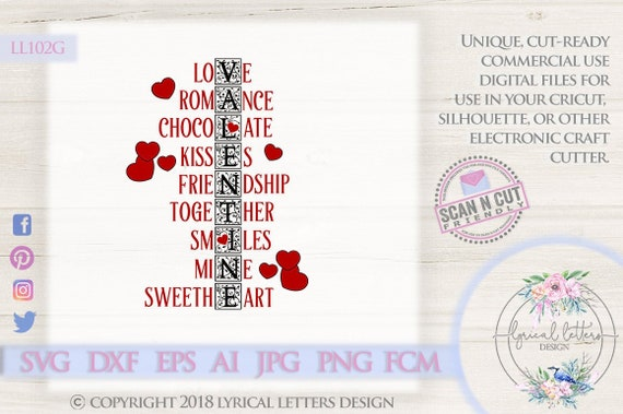 Valentine S Day Word Art With Hearts Ll102 G Svg Dxf Fcm Etsy
