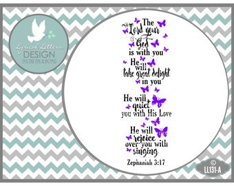 Zephaniah 3:17 The Lord Your God Is With You LL131 A - SVG - Cut File - With Ai, eps, svg, dxf (for Silhouette users), jpg, png files