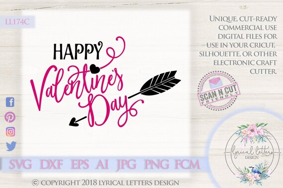 Happy Valentine S Day With Arrow And Heart Ll174 C Svg Etsy