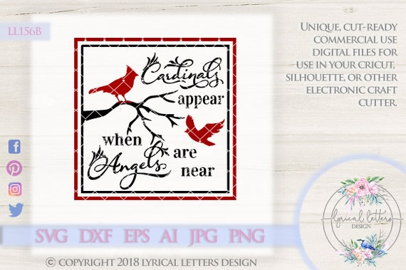 Cardinals Appear When Angels Are Near Solid Ll156 B Svg Dxf Etsy