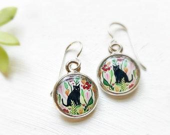 Cat in the Garden Art Earrings, Silver Black Cat Earrings, Black Kitty Jewelry, Kitty Earrings, Black Cat Gift, Gift for Cat Lover