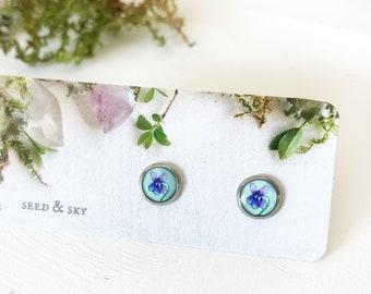 Tiny Violet Flower Studs, Purple Flower Earrings, Violet Flower Jewelry, Herbal Green Violet Purple Jewelry, Hypoallergenic Studs
