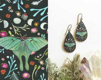 Luna Moth Large Teardrop Earrings, Made from an original painting, Floral pattern, colorful illustrated, unique luna jewelry