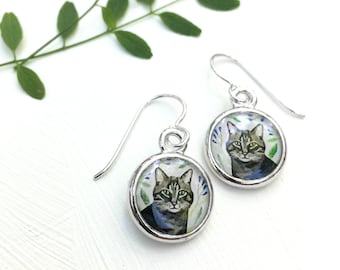 Cat earrings, Animal portrait, Cat lover, Tabby cat, Animal jewelry