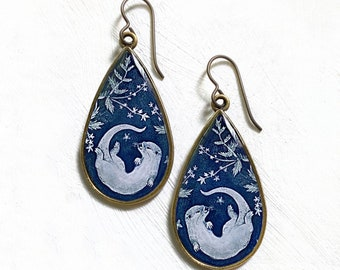River Otter Large Teardrop Earrings, Made from an original painting, Floral pattern, colorful illustrated, unique otter jewelry