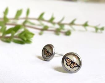 Butterfly Earrings, Monarch Stud Earrings, Monarch Butterfly Earrings, Stud Earrings, Orange Butterfly Earrings, Hypoallergenic Posts