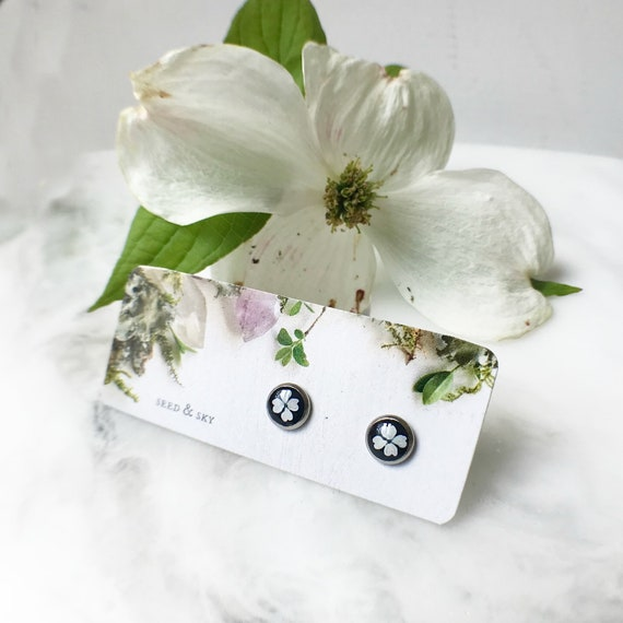Black and white earrings dogwood flower studs black white etsy image 0 mightylinksfo