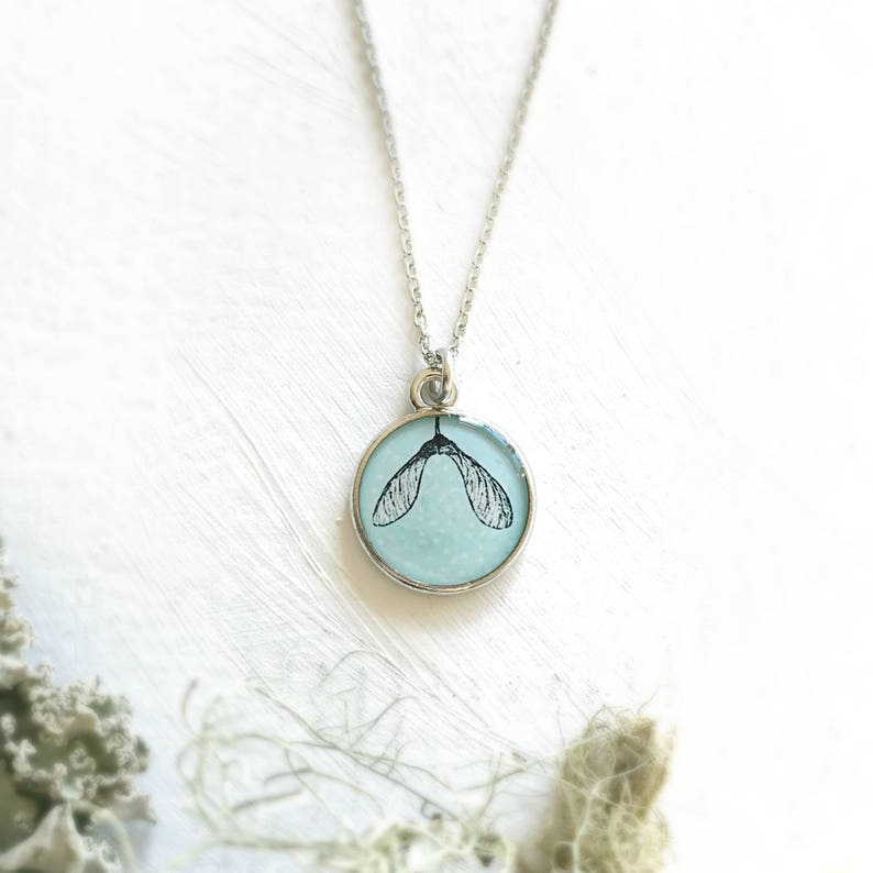 Maple Seed Necklace, Maple tree, Helicopter seed, Blue necklace, Silver  necklace, Maple seed pod