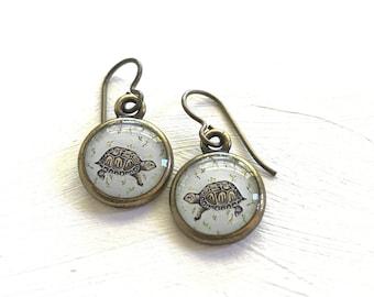 Turtle Earrings, Box Turtle Earrings, Turtle Jewelry, Turtle Art, Turtle Print