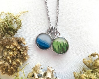 Forest Blue Ridge Mountain Necklace, Cluster Necklace, Green Forest, Blue Ridge, Pine Forest, Blue Mountains